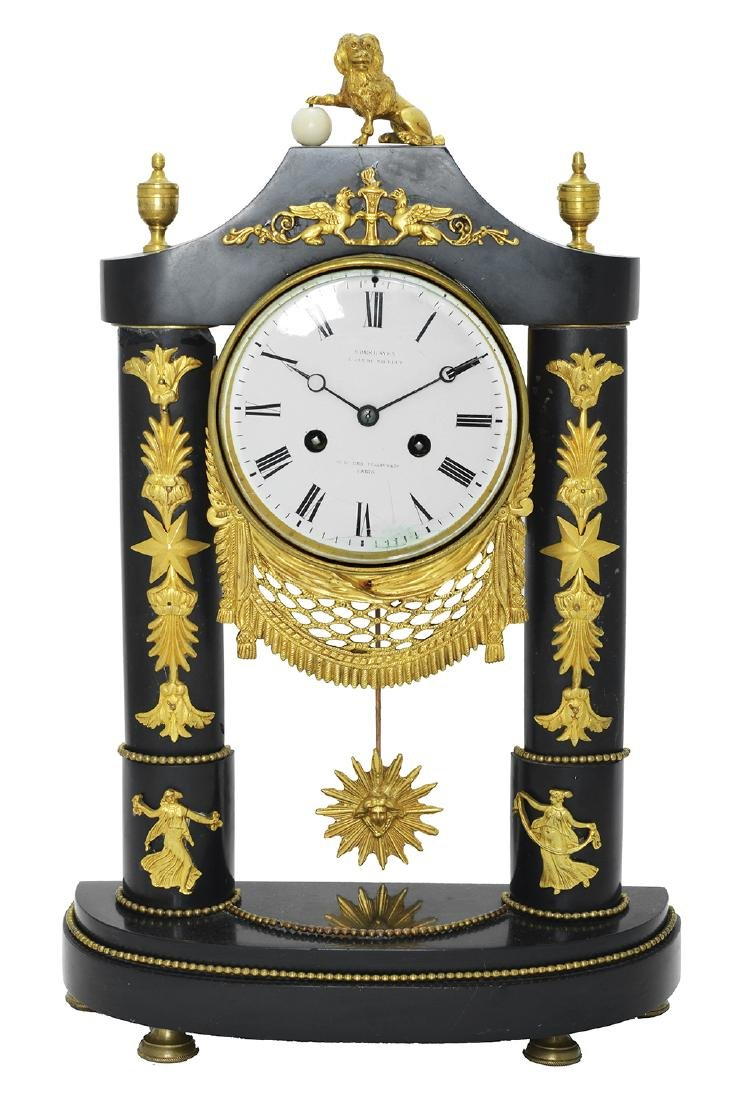 BRONZED AND MARBLED FRENCH CLOCK