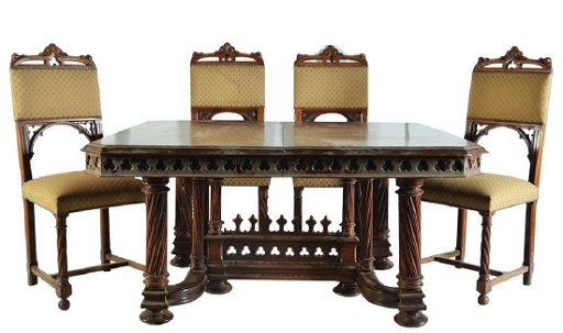 A FRENCH NEO GOTHIC EXTENDING DINING TABLE AND CHAIRS