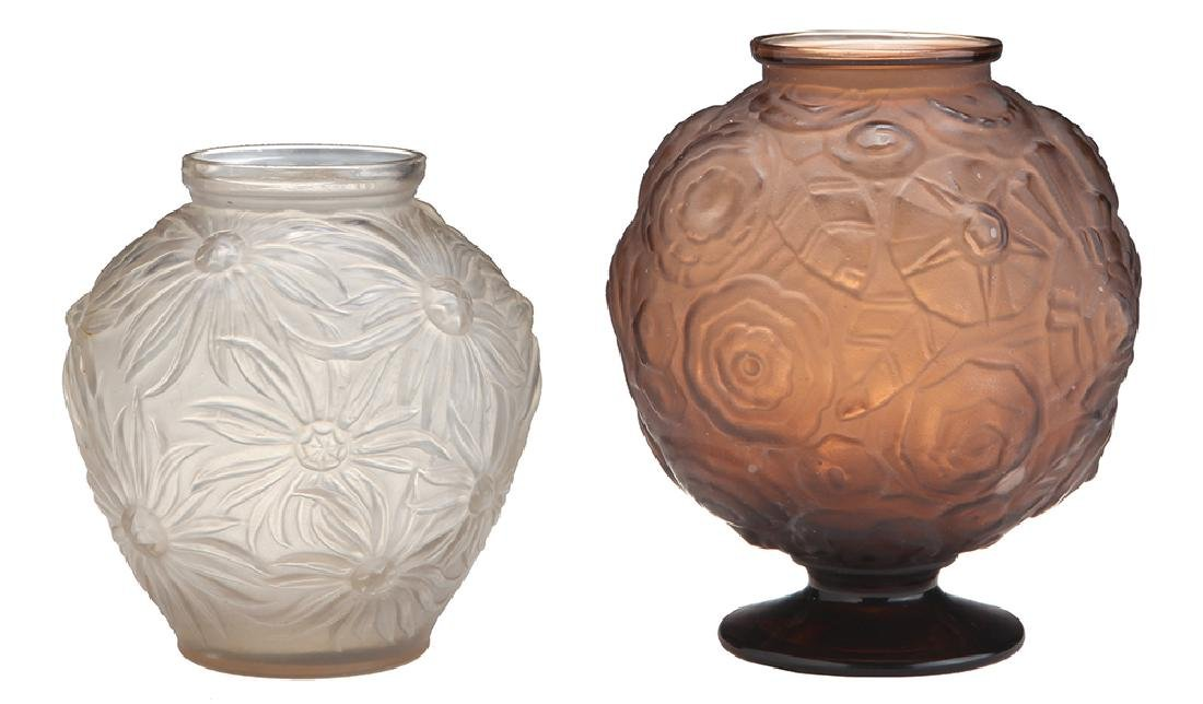 TWO FRENCH ART-DECO GLASS VASES