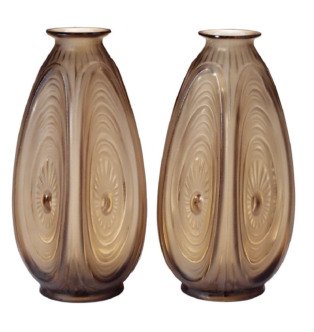 A PAIR OF SABINO 'ALVEOLES' BROWN GLASS VASES