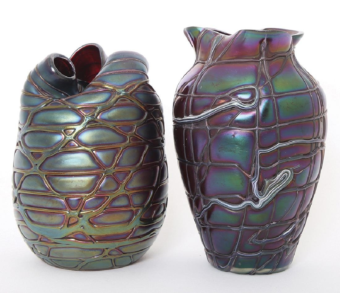 TWO GLASS VASES