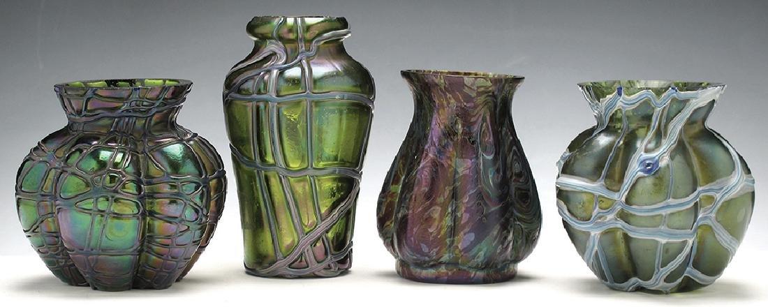 A LOT OF FOUR PALLME KONIG AND RINDSKOPF GLASS VASES