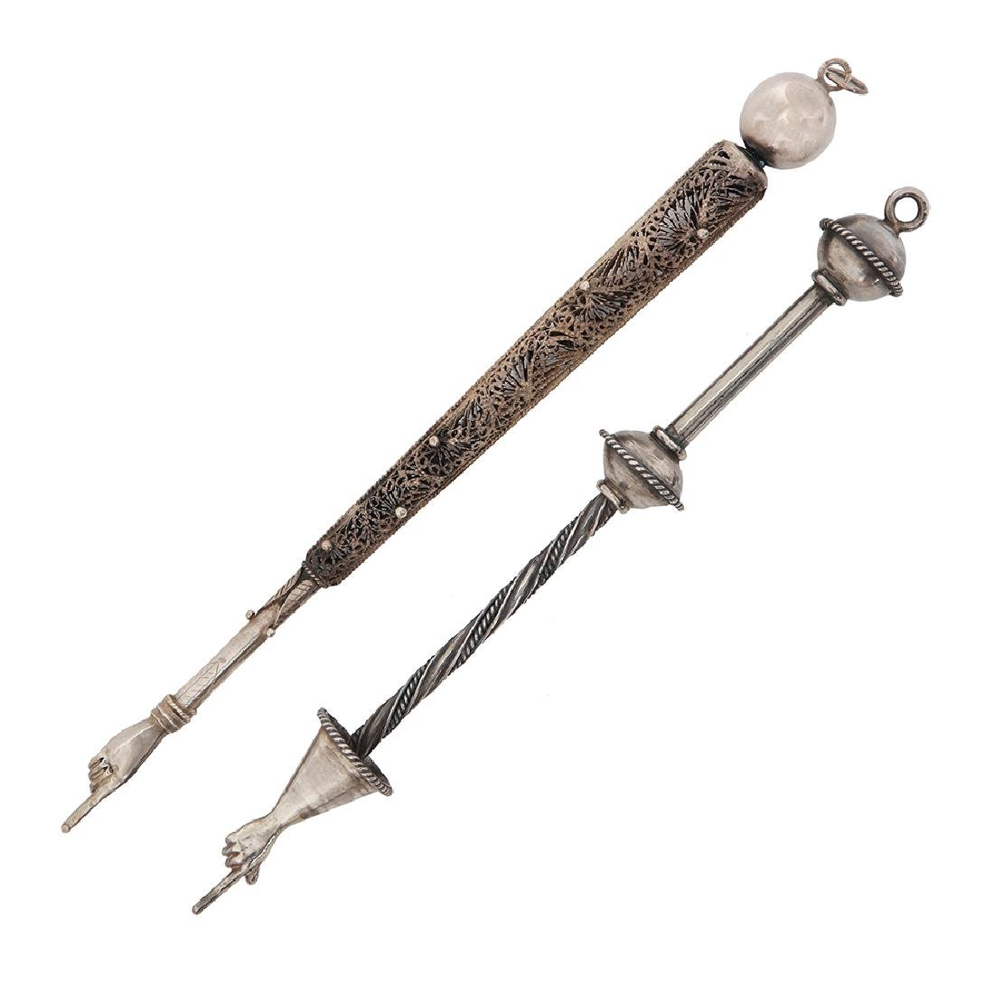 TWO SILVER AND SILVER AND FILIGREE TORAH POINTERS