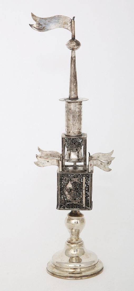 A SILVER AND FILIGREE SPICE TOWER