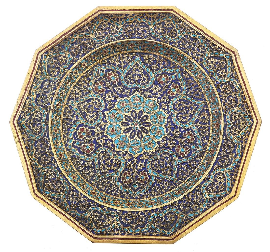 A PARCEL GILT COPPER AND ENAMEL DECAGON PLATE