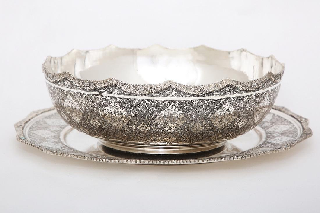A SILVER BOWL AND COASTER