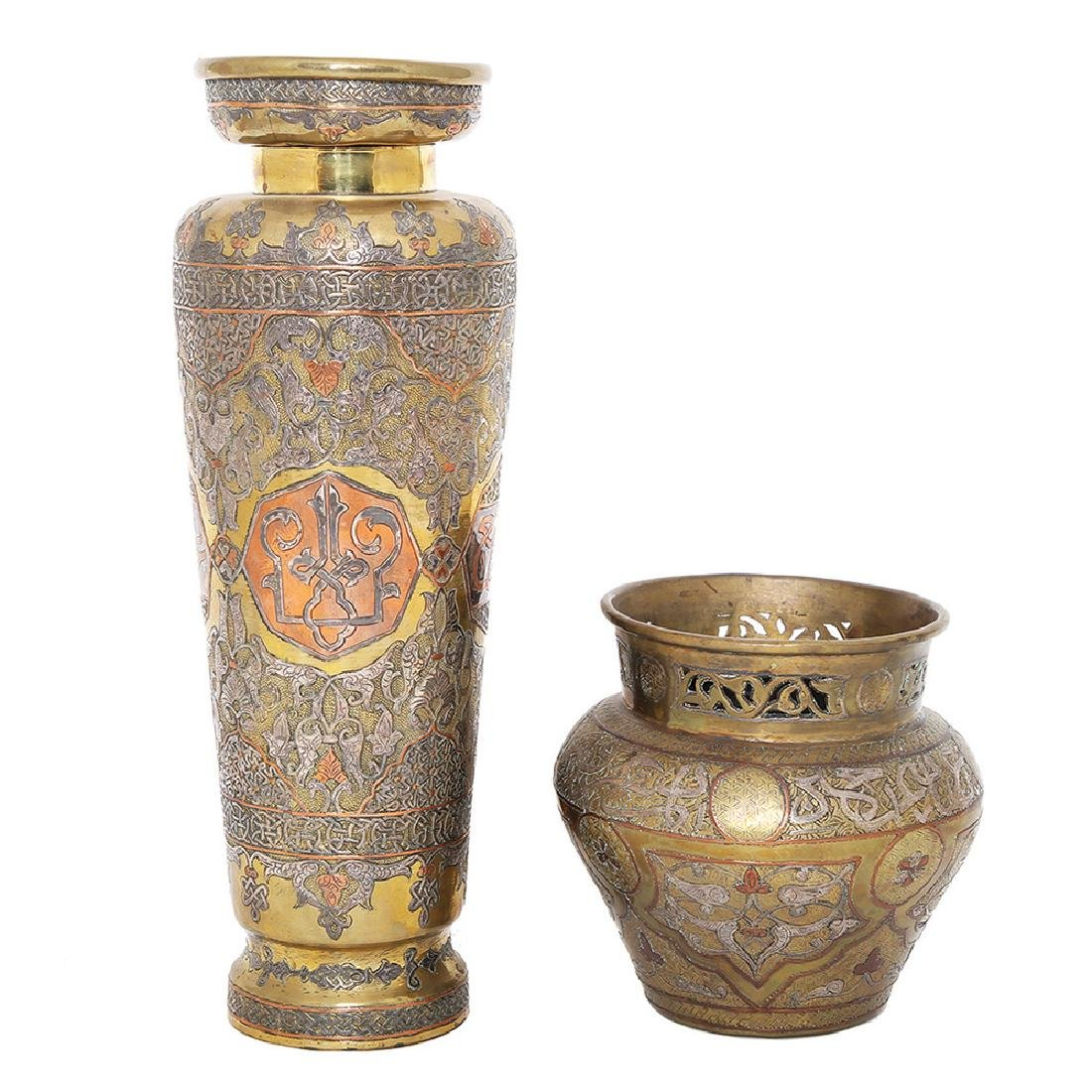 TWO ISLAMIC DAMASCENED SILVER AND COPPER INLAID VESSELS