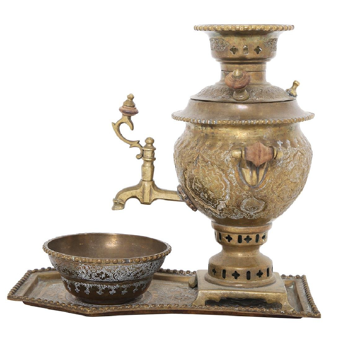 A PERSIAN BRASS PERSONAL SAMOVAR