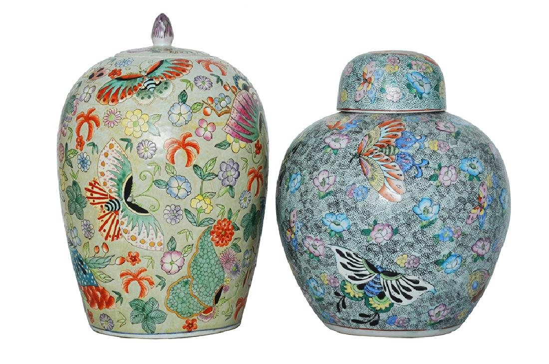 TWO CHINESE PORCELAIN GINGER JAR AND COVER VASES