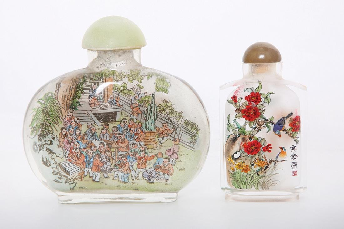 TWO CHINESE INSIDE PAINTED GLASS SNUFF BOTTLES