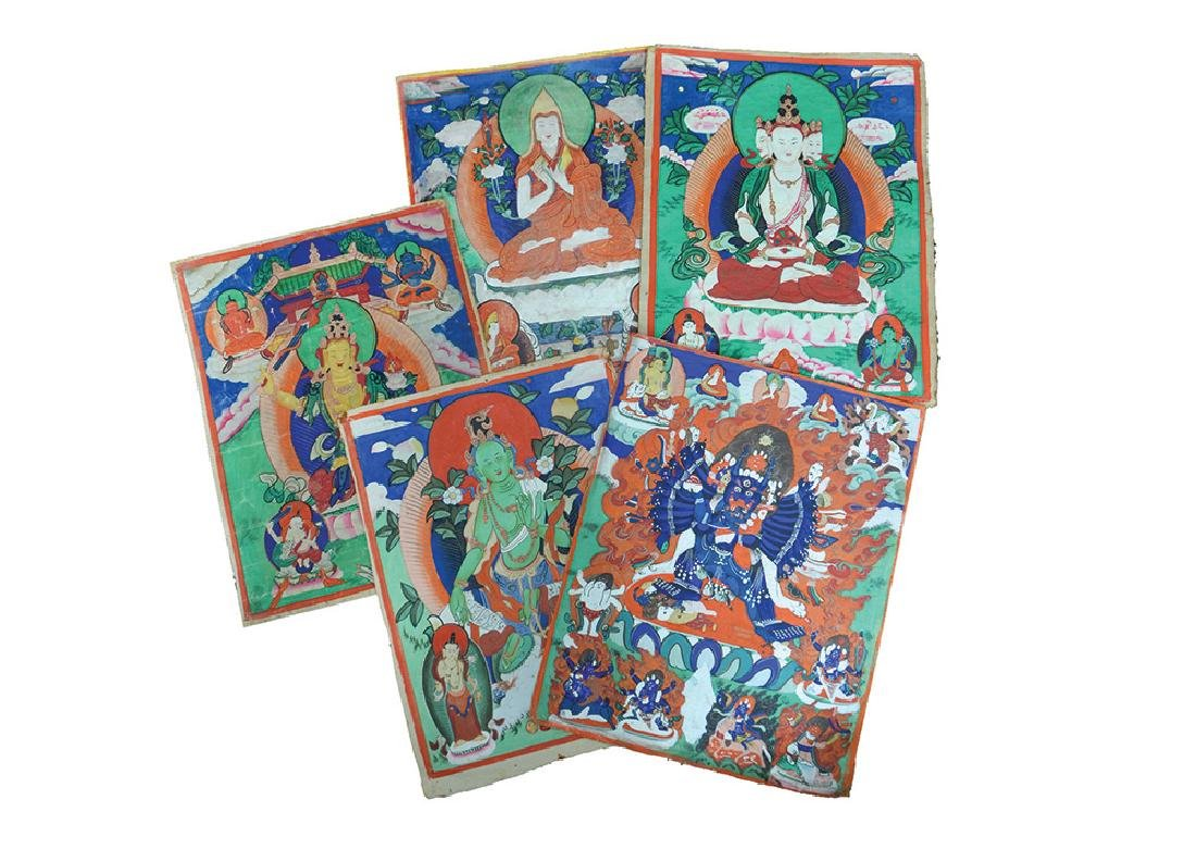 A GROUP OF EIGHT THANGKAS