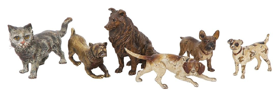 SIX MINIATURE BRONZE FIGURES OF A CAT AND DOGS