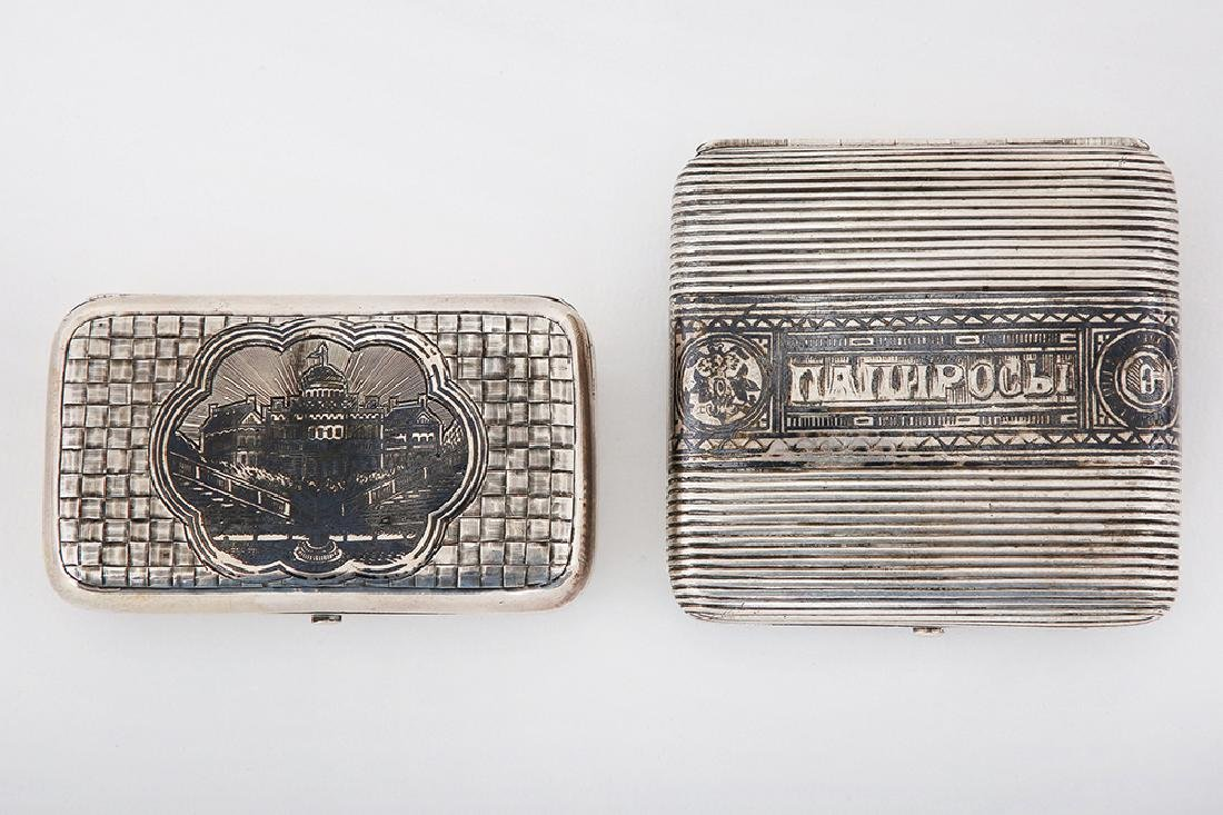 TWO RUSSIAN SILVER BOXES