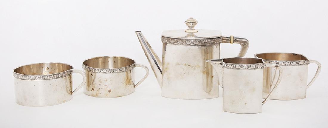 AN AUSTRIAN SILVER TEA FOR TWO SET