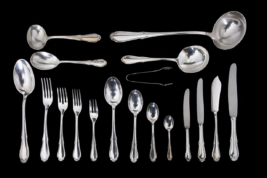 A GERMAN SILVER FLATWARE SERVICE FOR TWELVE