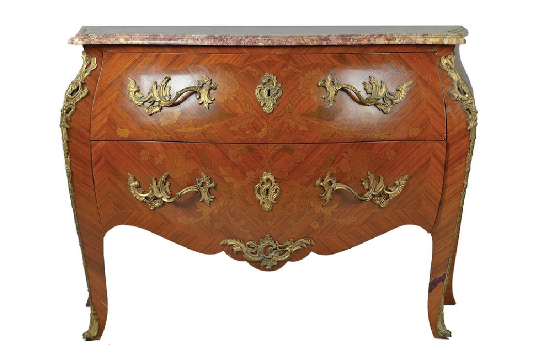 A LOUIS XV STYLE PINK MARBLE TOP MARQUETRY COMMODE