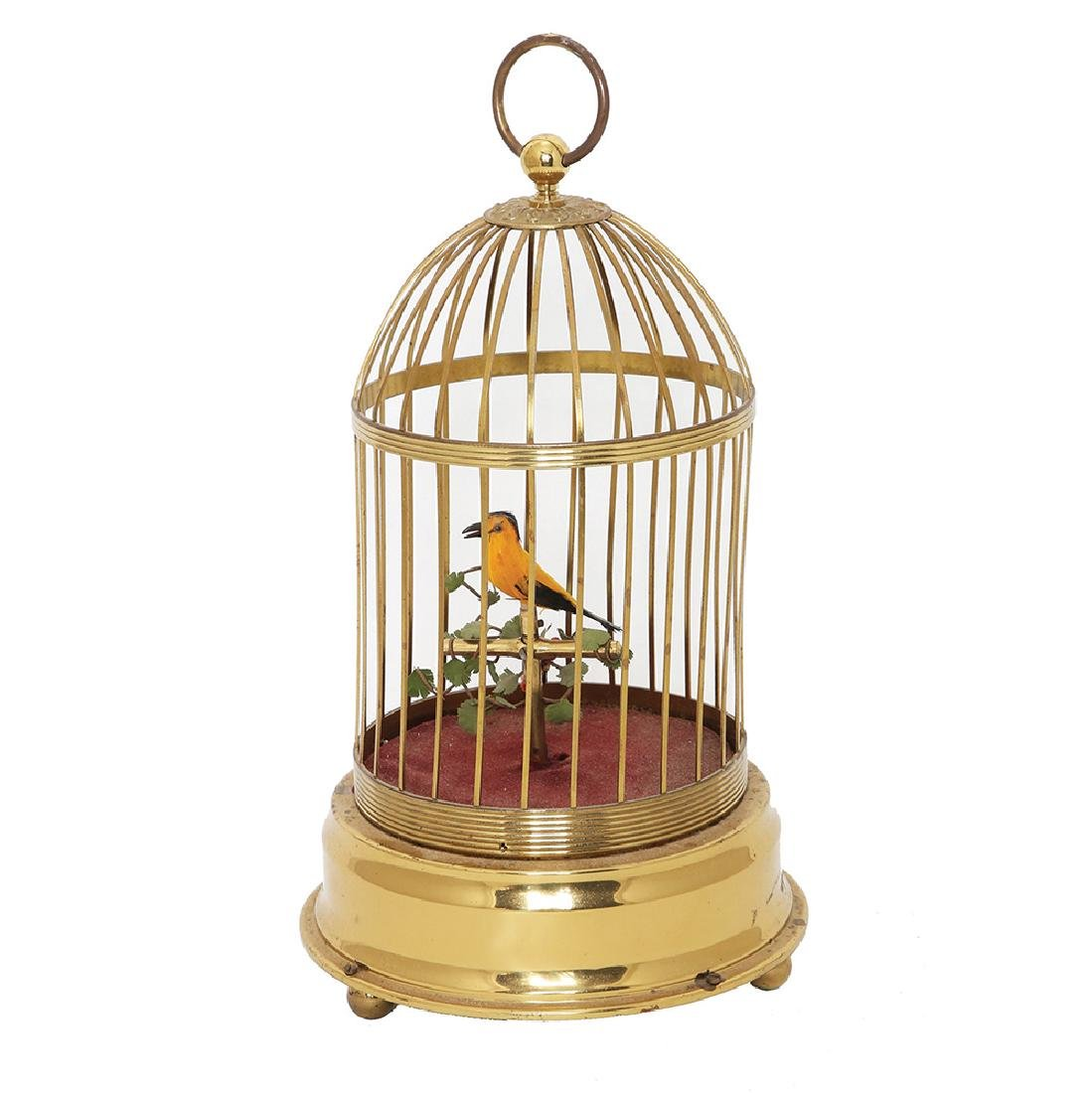 A BIRD IN A METAL CAGE