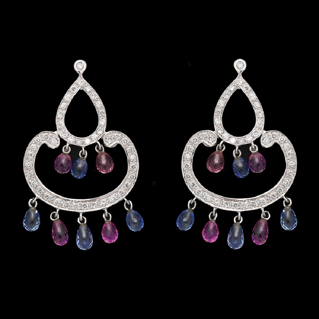 A PAIR OF 18K WHITE GOLD, CHANDELIER EARRINGS