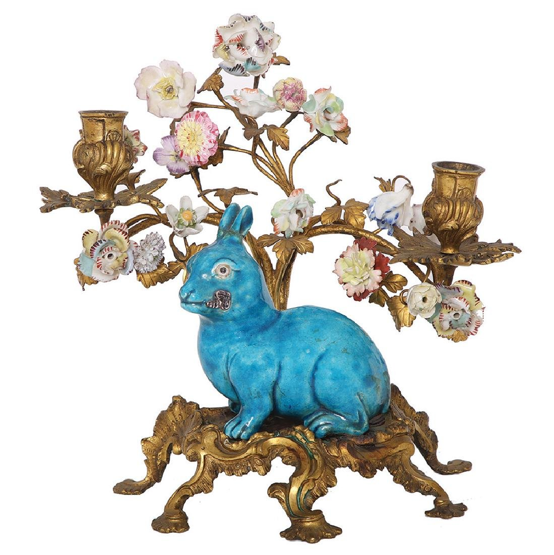 A FRENCH GILT-BRONZE PORCELAIN MOUNTED LOUIS XV STYLE