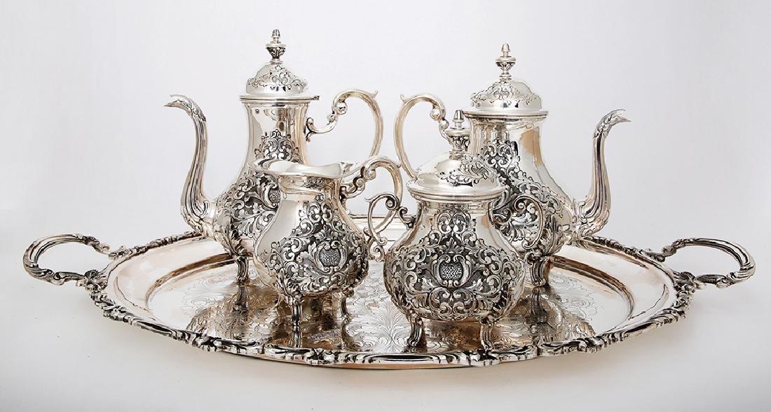 AN ITALIAN SILVER COFFEE AND TEA SET