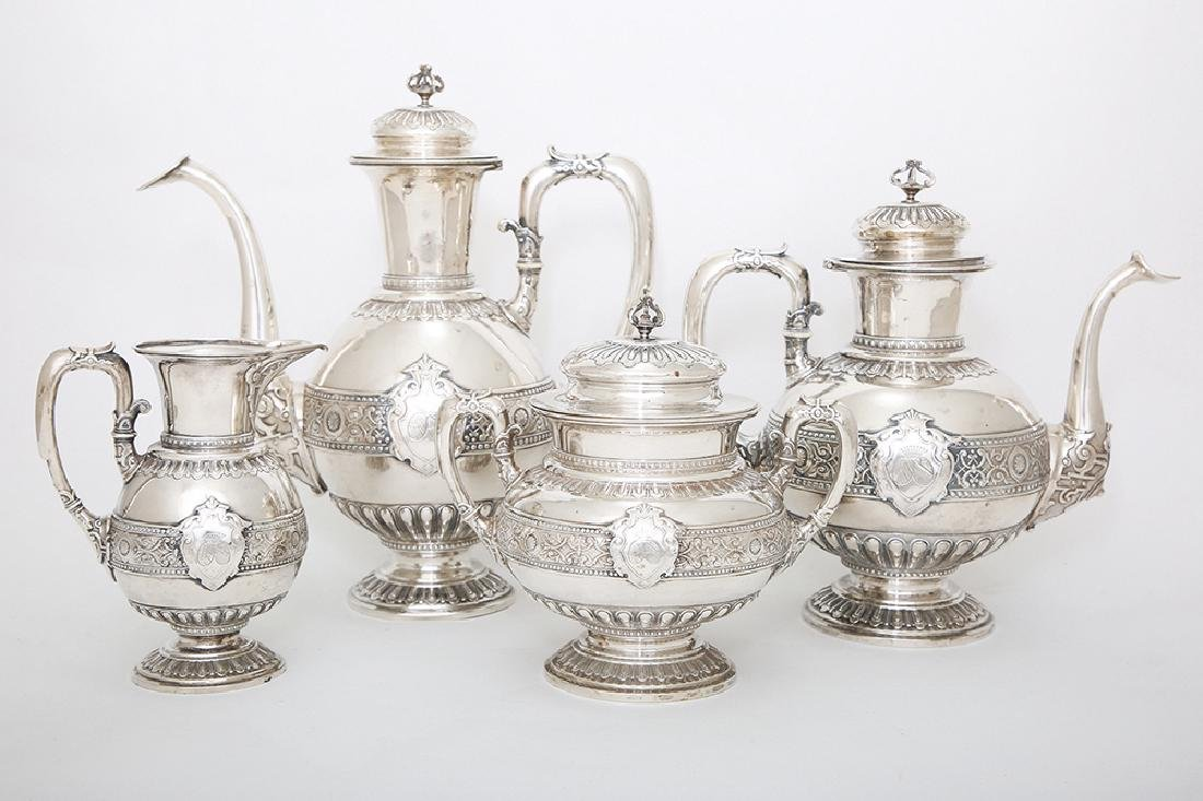A SILVER FOUR PIECE COFFEE AND TEA SET