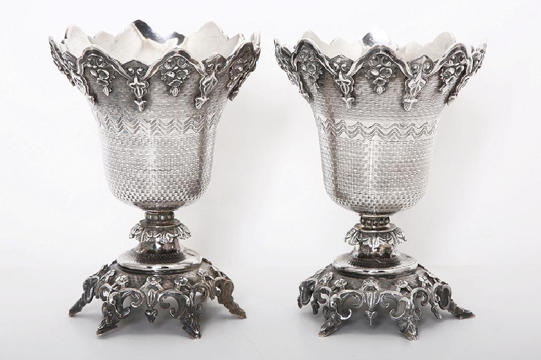 A PAIR OF SILVER OTTOMAN CUPS
