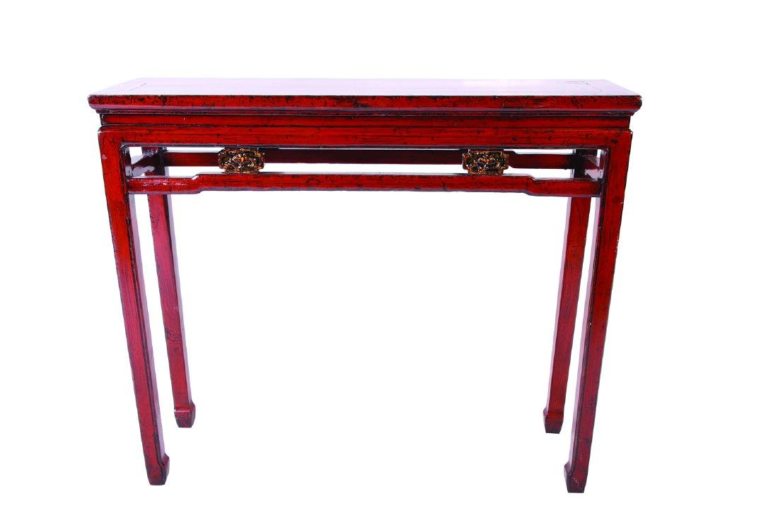 A CHINESE SIMULATED RED LACQUER ALTAR TABLE