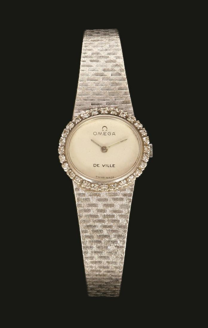 OMEGA 18K WHITE GOLD FEMALE WRISTWATCH