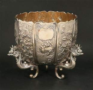 A CHINESE EXPORT SILVER JARDINIERE