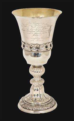 A LARGE SILVER GOBLET