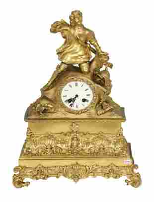 FRENCH BRONZE MANTEL CLOCK, CIRCA 1880