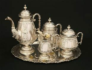 A GERMAN SILVER TEA AND COFFEE SET