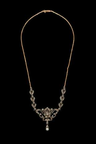 AN 18K GOLD AND SILVER VICTORIAN PENDANT