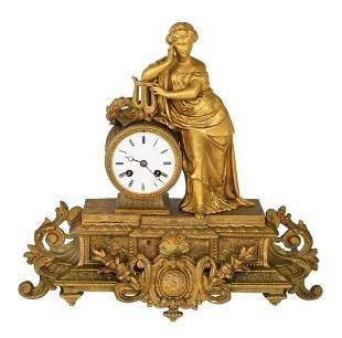 FRENCH BRONZE MANTEL CLOCK, CIRCA 1900