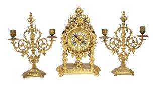 FRENCH CLOCK AND 2 DOUBLE BARREL CANDELAVRA, CIRCA 1920