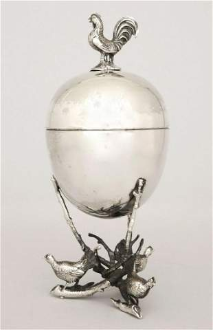 A VIENNESE SILVER PLATED OVOID FORM CUP AND COVER