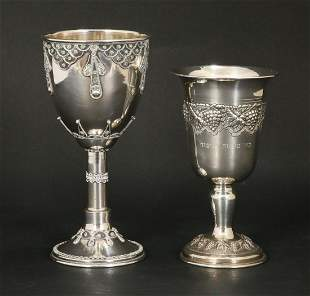 A LOT OF TWO SILVER KIDDUSH GOBLETS