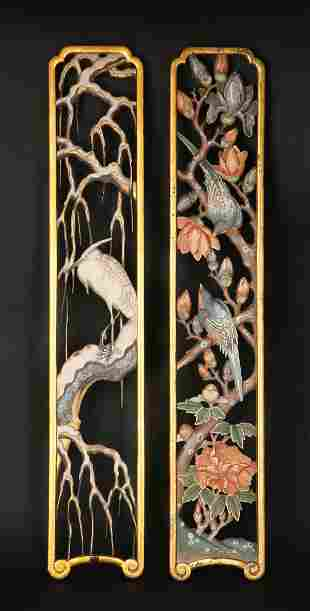 A PAIR OF CHINESE WOOD WALL DECORATIONS