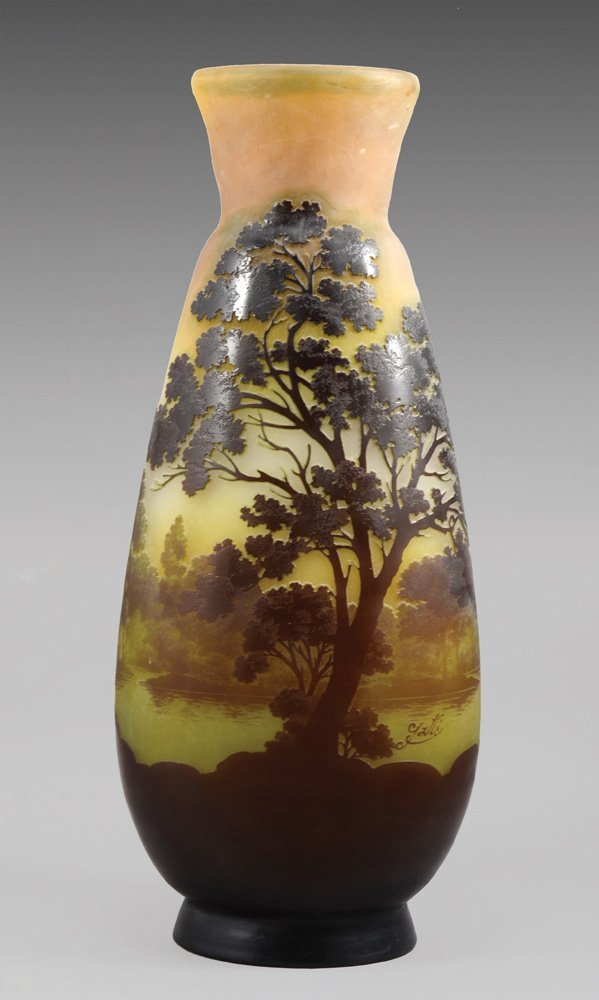 A MONUMENTAL GALLE CAMEO GLASS LANDSCAPE VASE