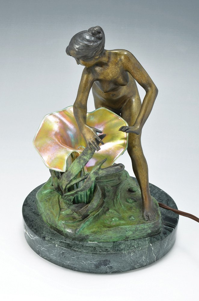 AN ART NOUVEAU STYLE BRONZE FIGURAL LAMP OF A MAIDEN
