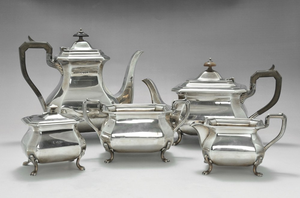A SILVER FIVE PIECE COFFEE AND TEA SET