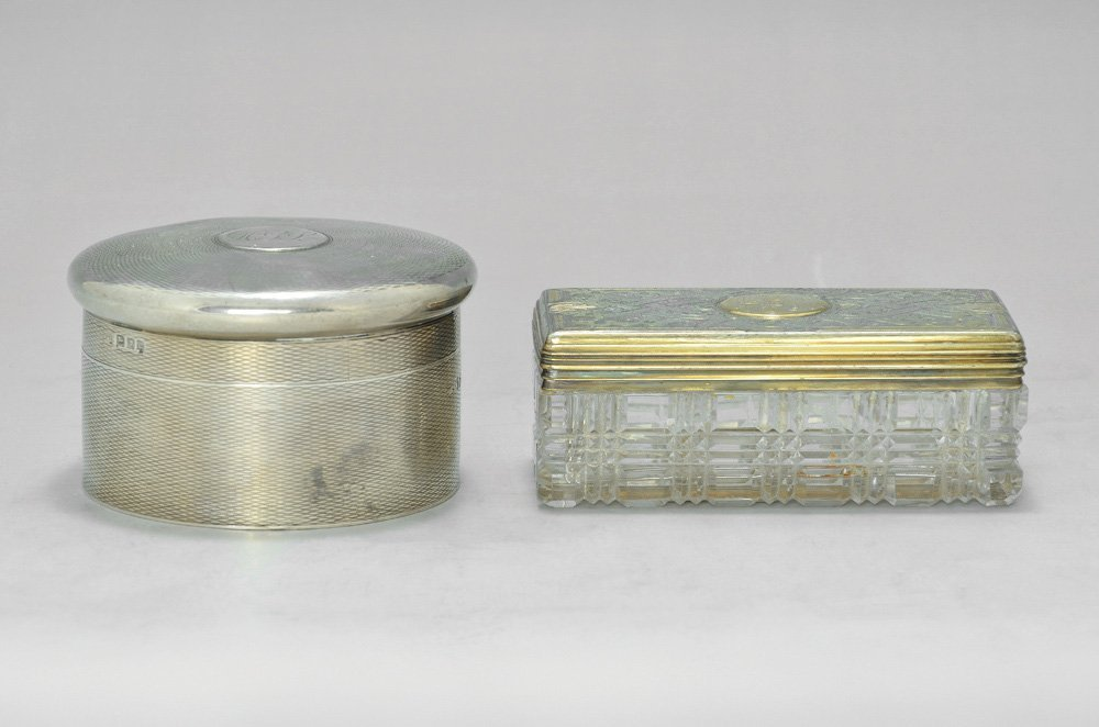 A LOT CONSISTING OF TWO ENGLISH SILVER BOXES
