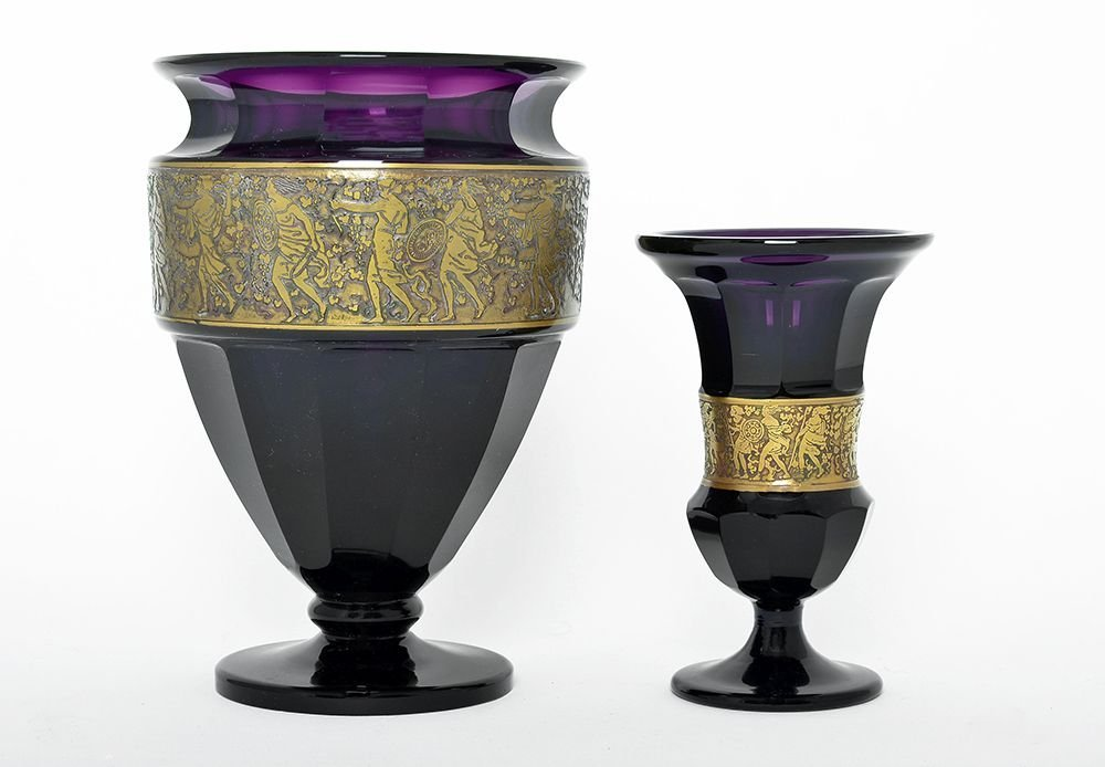 TWO MOSER AMETHYST PURPLE GLASS VASES
