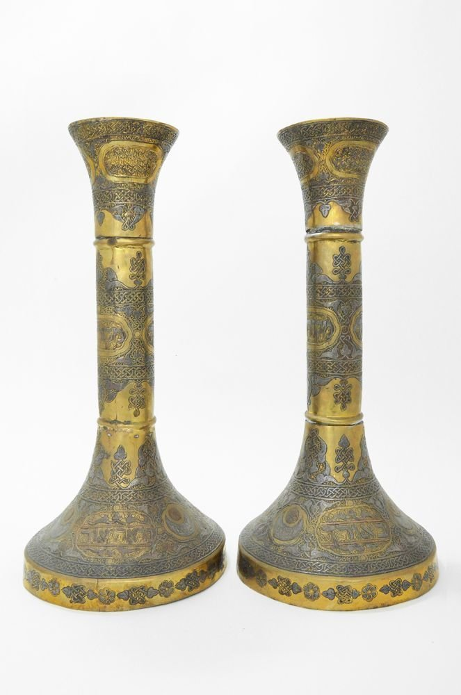 A PAIR OF MASSIVE SILVER AND COPPER INLAID BRASS