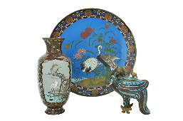 A GROUP OF THREE CHINESE CLOISONEE ENAMEL ITEMS