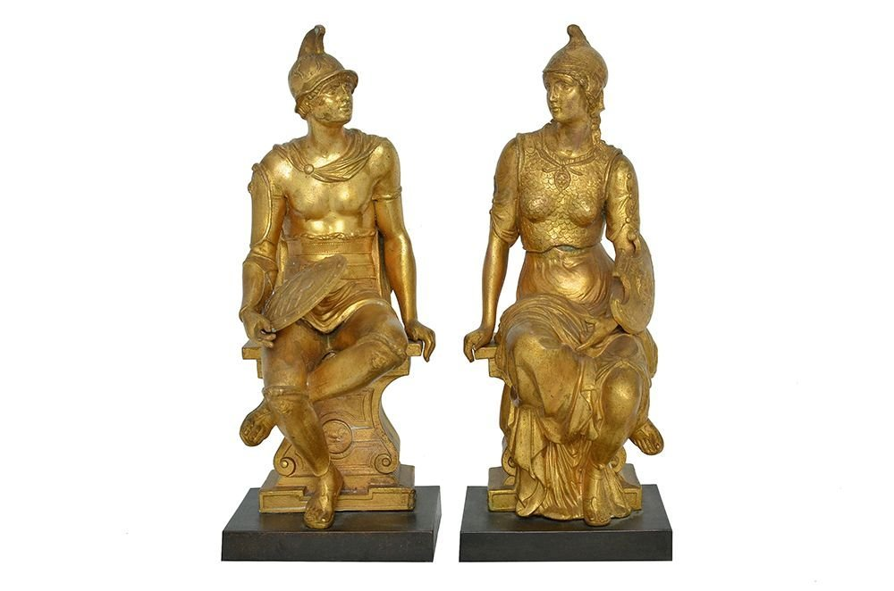 A PAIR OF GILT BRONZE FIGURES OR BOOK ENDS