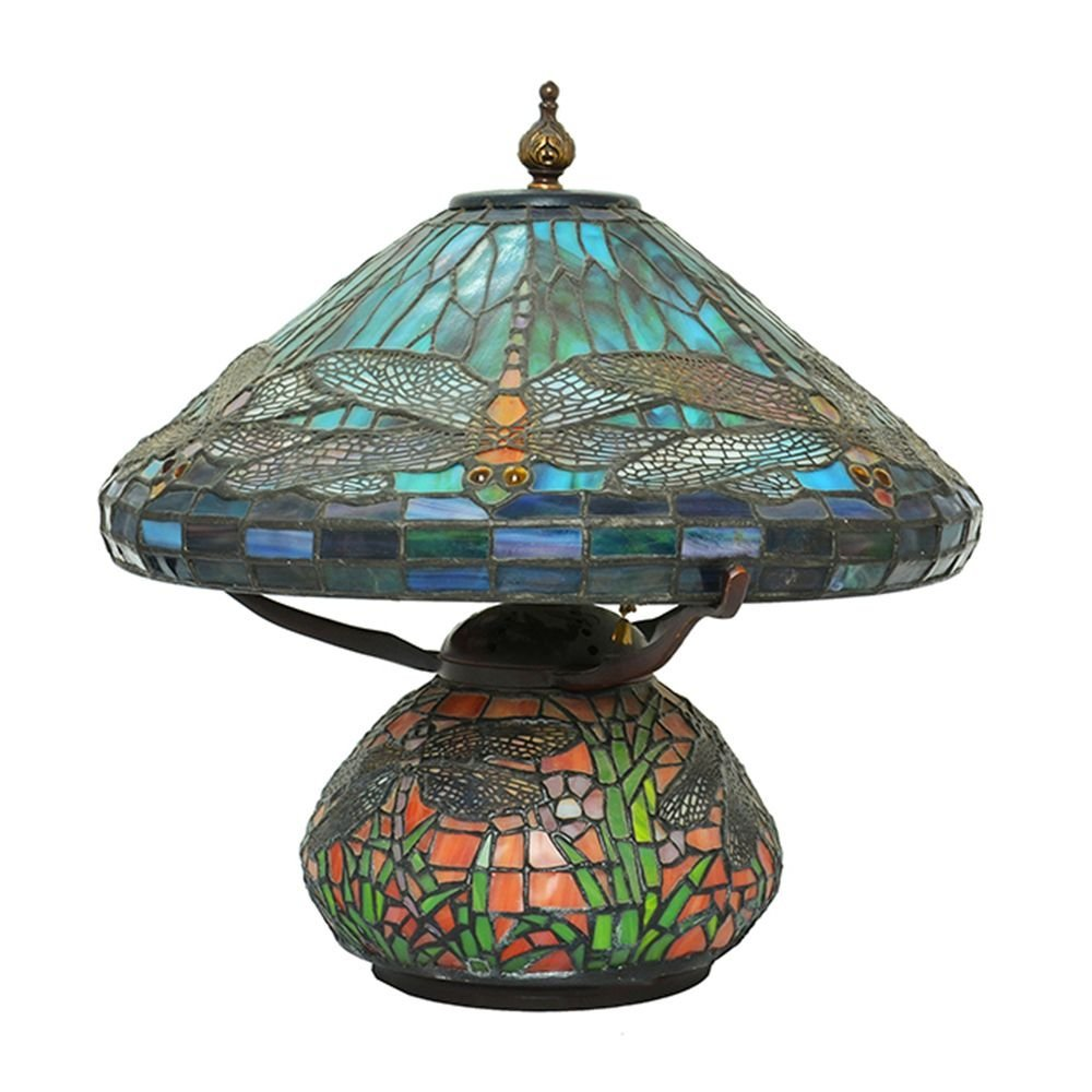 A TIFFANY OIL LAMP STYLE ELECTRICAL LAMP
