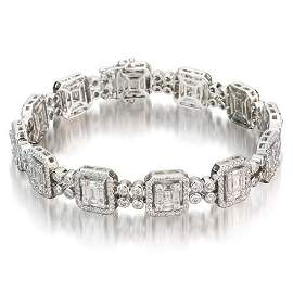 18K White Gold 6.24 ct. tw. Baguette and Round Diamond