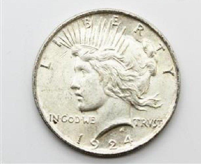 circulated 1924 Silver Peace Dollar