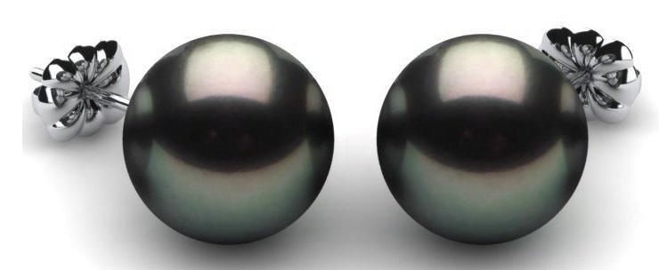 Black Pearl Earrings Silver Stems
